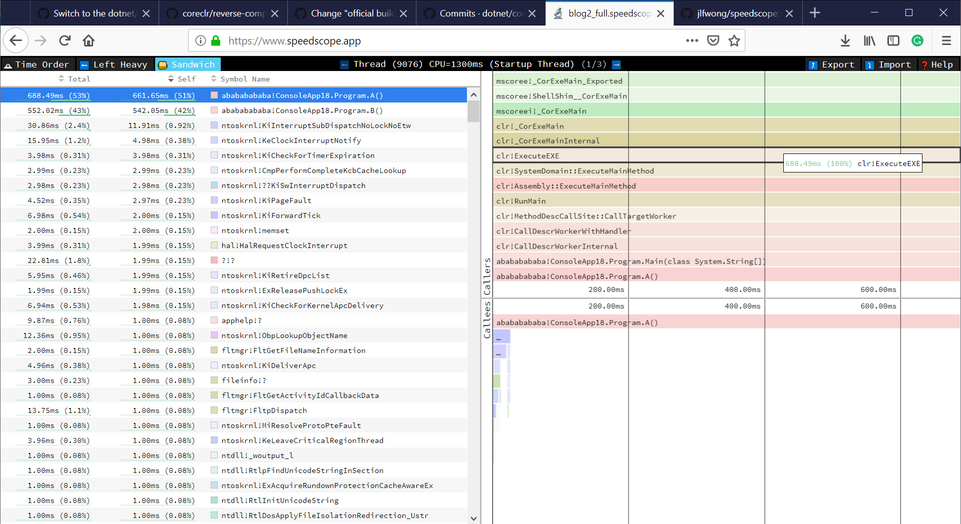 Profiling  NET Code with PerfView and visualizing it with